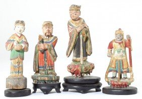 188: Four Chinese Painted Wood and Gesso Figurines