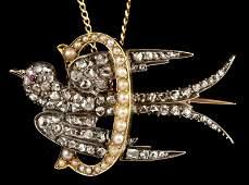 373: Early Victorian Diamond and Pearl Bird Brooch