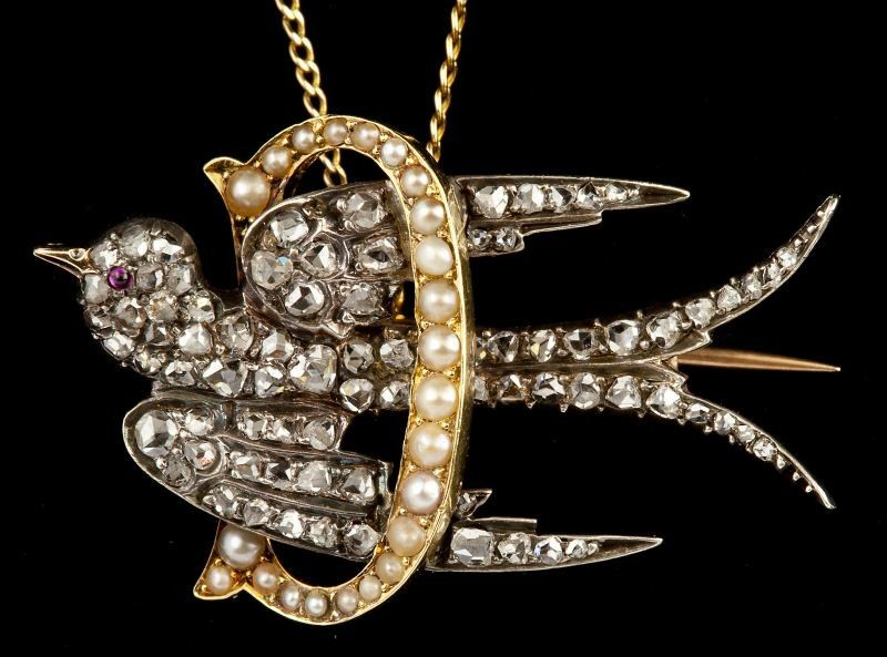 Early Victorian Diamond and Pearl Bird Brooch