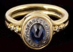 569: 18KT Diamond and Sapphire Ring, Ted Hendrickson
