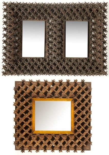 "15: Two ""Crown of Thorns"" Folk Art Mirrors"