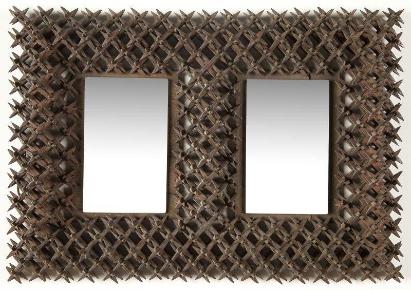 "15: Two ""Crown of Thorns"" Folk Art Mirrors - 2"