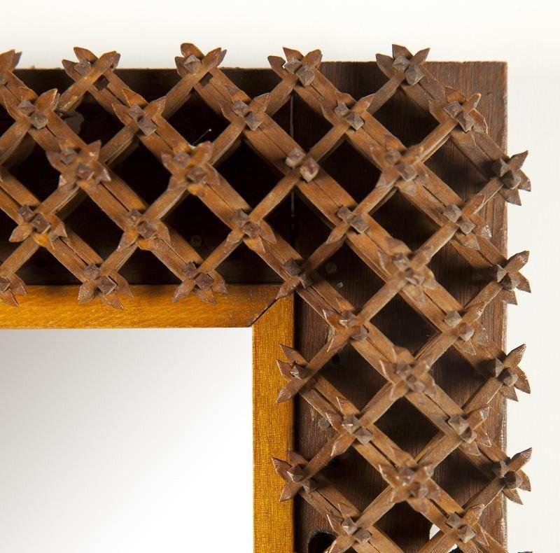 "15: Two ""Crown of Thorns"" Folk Art Mirrors - 6"