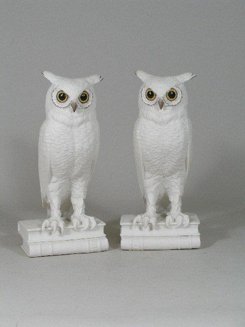 8: Pair of Boehm Porcelain Owl Bookends,