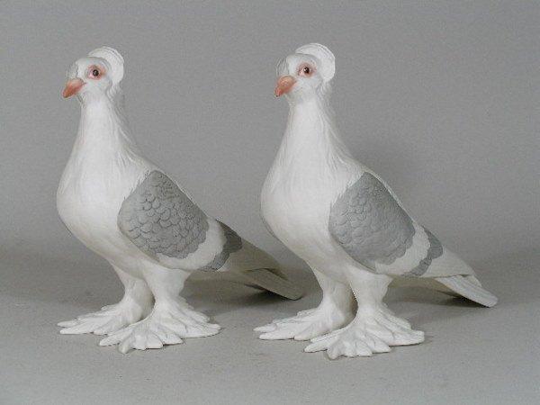 "14: Pair of Boehm Porcelain ""Tumbler Pigeons"","