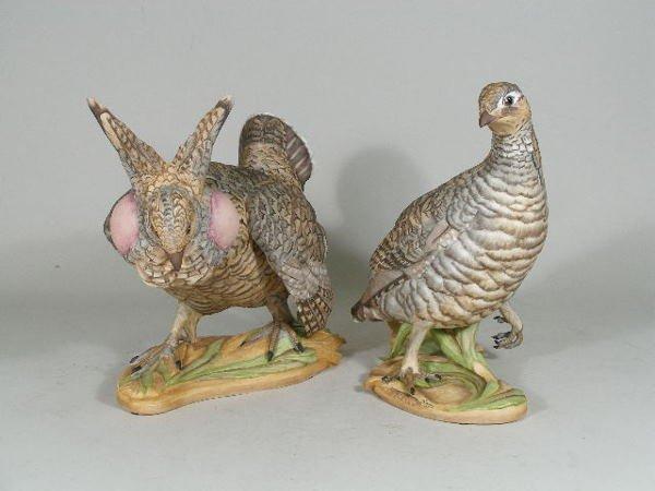 """22: Pair of Boehm Porcelain """"Lesser Prairie Chickens"""","""