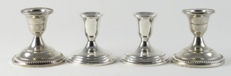 13: Two Pair of Sterling Candlesticks