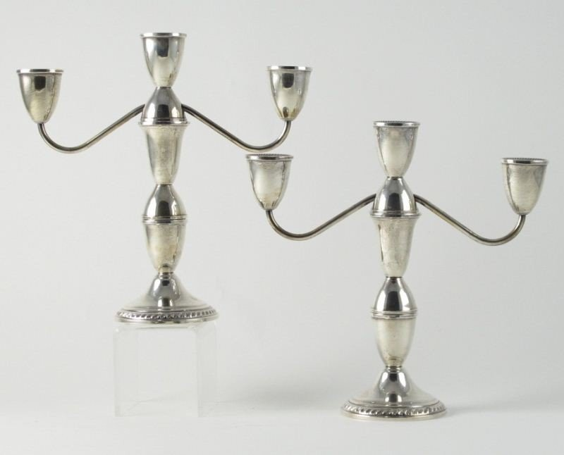 17: Pair of Sterling Silver Candelabra