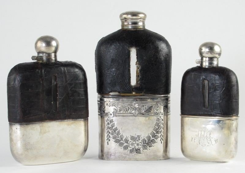 21: Three Vintage Silver and Leather Flasks