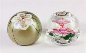 158 Two Fine Art Glass Paperweights