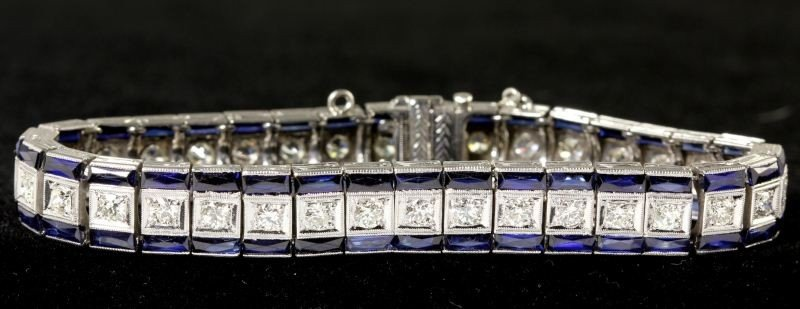 204: Diamond and Synthetic Sapphire Bracelet