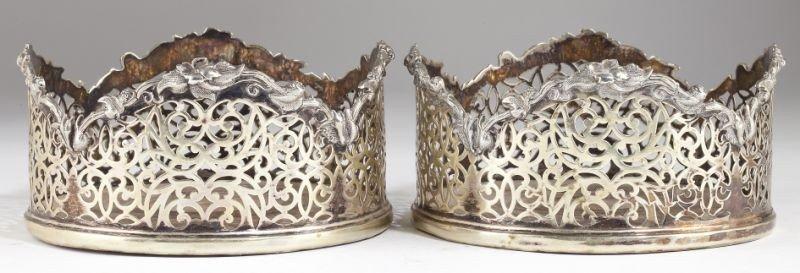 14: Pair of George III Sheffield Plate Wine Coasters