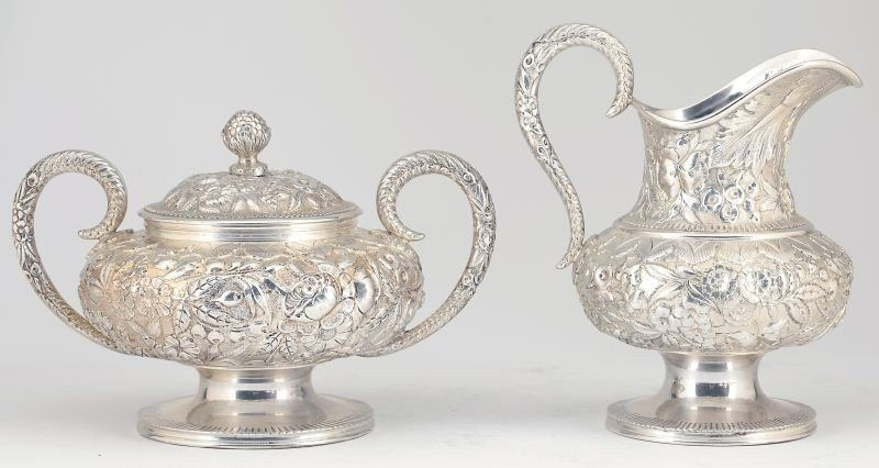 "22: S. Kirk & Son ""Repousse"" Sterling Tea & Coffee Set - 7"