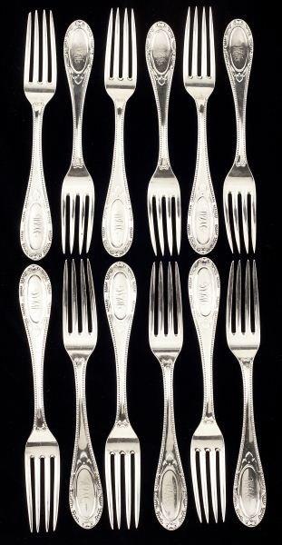 29: Set of Twelve American Coin Silver Forks