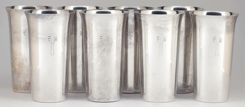 35: Set of Eight Sterling Silver Tumblers by Randahl