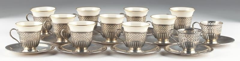 41: Set of (12) Tiffany & Co. Sterling Demitasse Cups