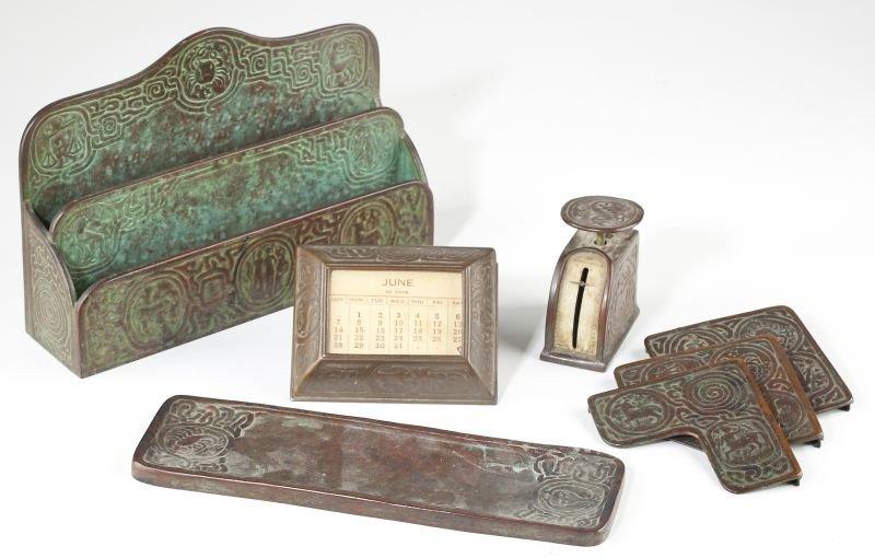 "43: Tiffany Studios Bronze ""Zodiac"" Desk Set"