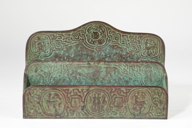"43: Tiffany Studios Bronze ""Zodiac"" Desk Set - 2"