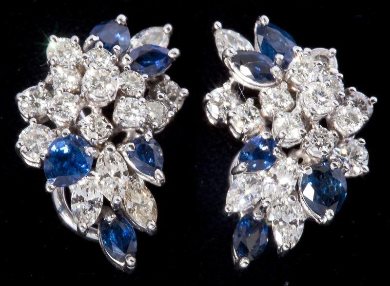 107: Diamond and Sapphire Earclips
