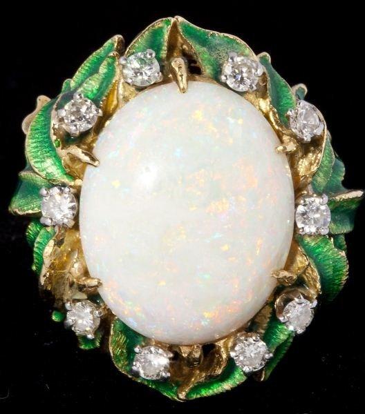 109: Opal, Diamond and Enamel Ring
