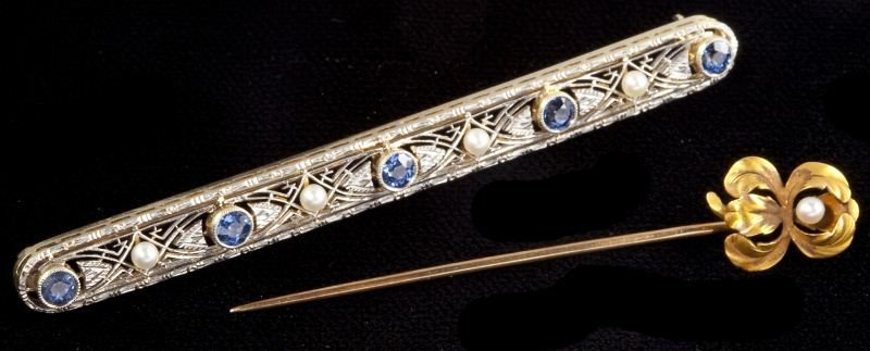 111: Two Vintage Gold Sapphire and Pearl Pins, Krementz