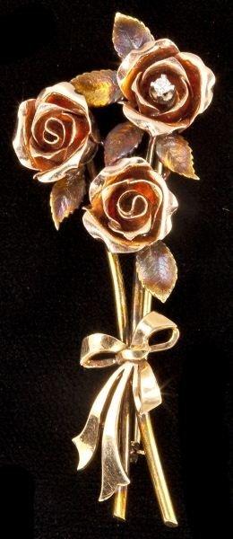 112: Gold and Diamond Flower Spray Brooch, Krementz