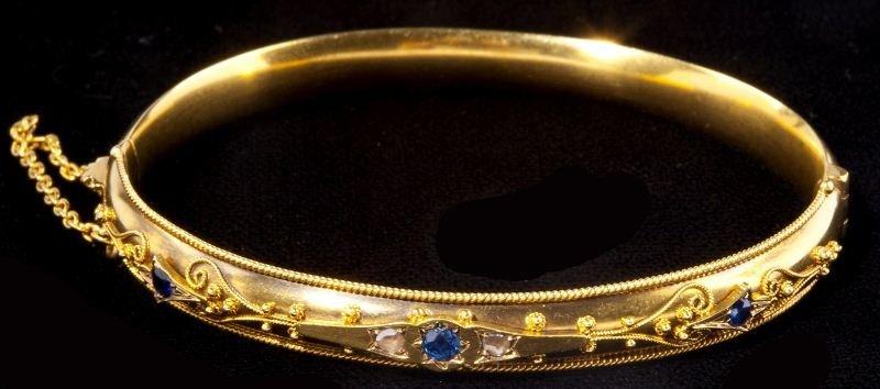 115: Antique Gold, Diamond and Sapphire Bangle Bracelet