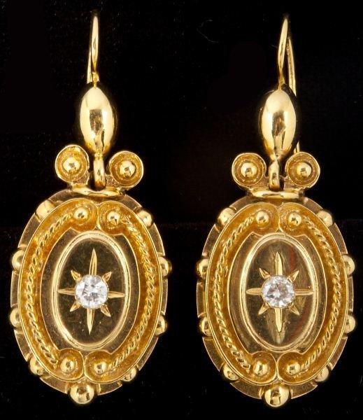 116: Gold and Diamond Drop Pendant Earrings