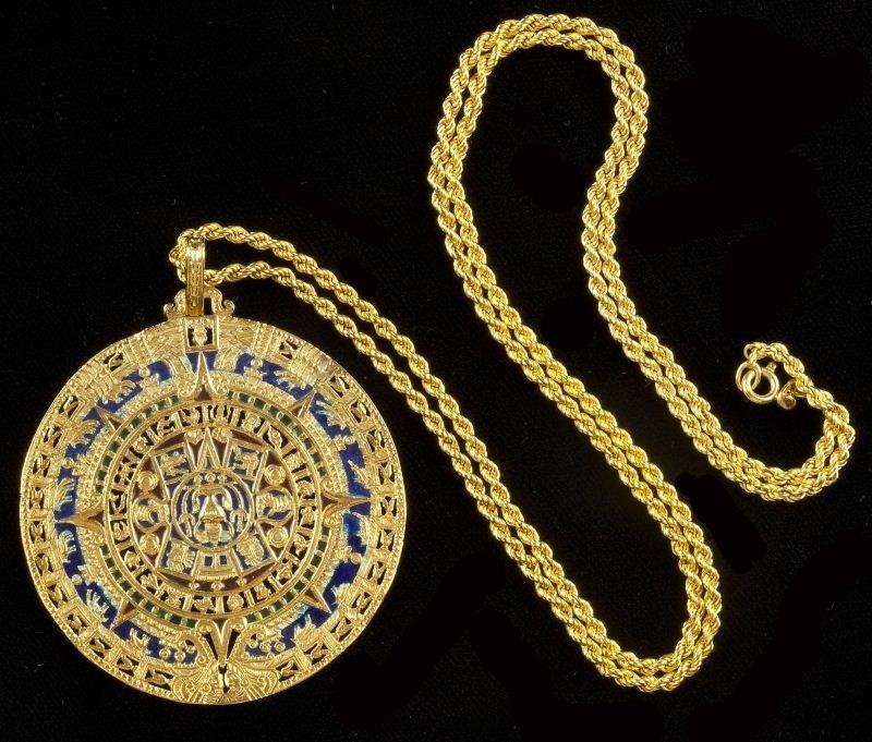 121: Gold and Plique a Jour Disc Pendant, Garrard & Co.