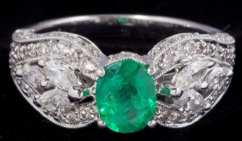 122: Emerald and Diamond Ring