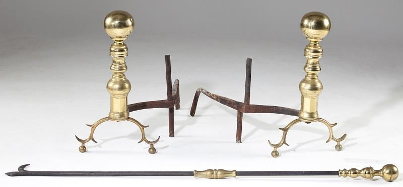 174: Pair of American Cannonball Andirons