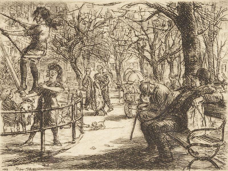 446: John Sloan (NY, 1871-1951), Swinging in the Square