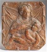 477: Italian Terra Cotta Wall Plaque of Madonna & Child