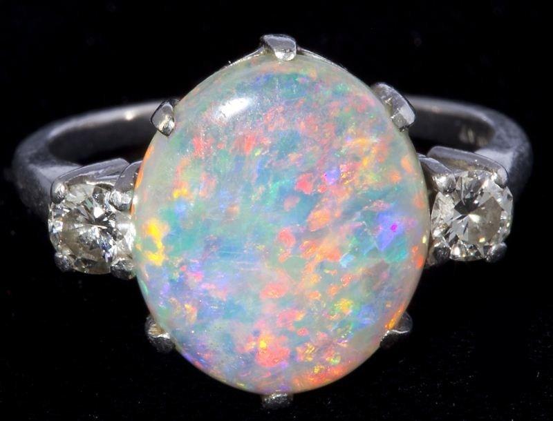 620: Platinum, Opal and Diamond Ring