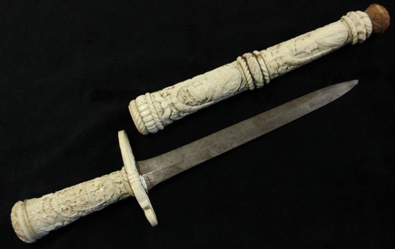 12: Antique German Bone Dagger