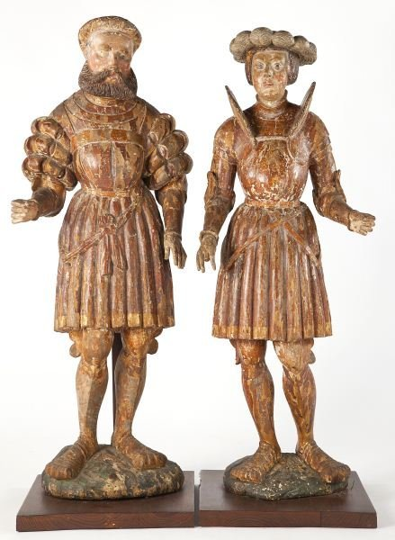 14: Pair of Continental Carved Court Figures