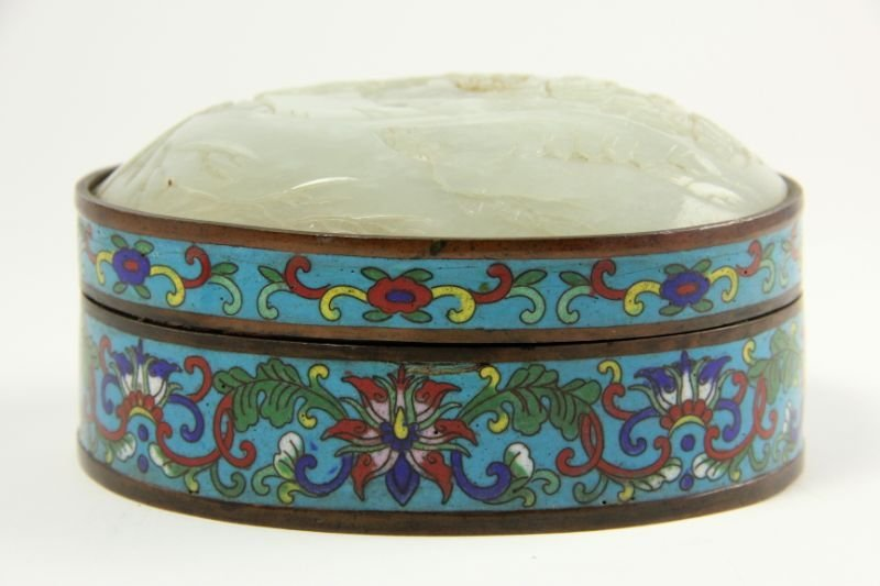 18: Chinese Cloisonne and Jade Box