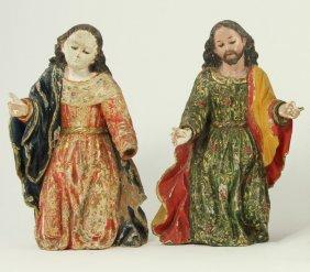 Pair Of Spanish Creche Figures, 17th Century