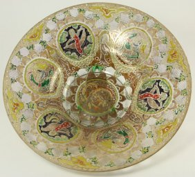 Enamel Decorated Glass Center Bowl
