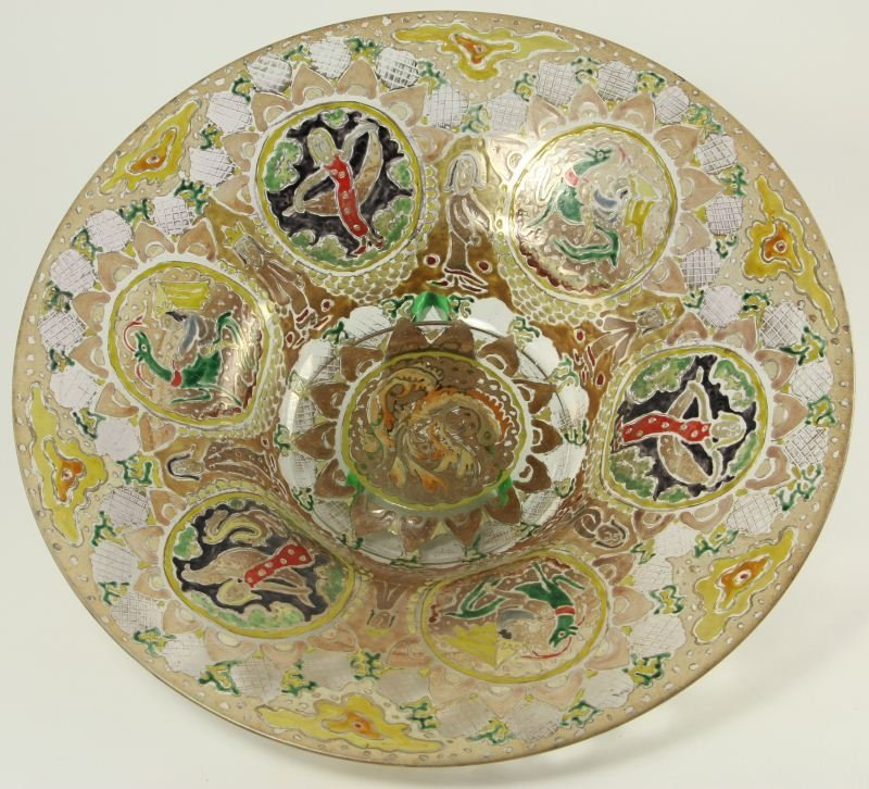 52: Enamel Decorated Glass Center Bowl