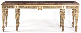 Italian Painted And Parcel Gilt Console Table