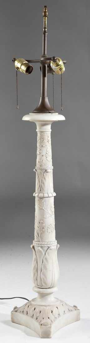 60: Carved Carrara Marble Table Lamp