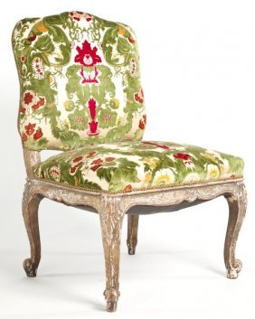 Italian Carved And Upholstered Side Chair