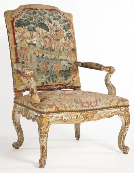 72: Italian Painted and Carved Open Arm Chair