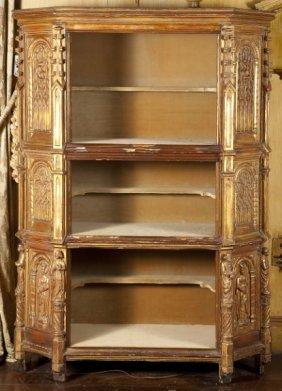 Italian Renaissance Style Gilt Wood Open Cabinet