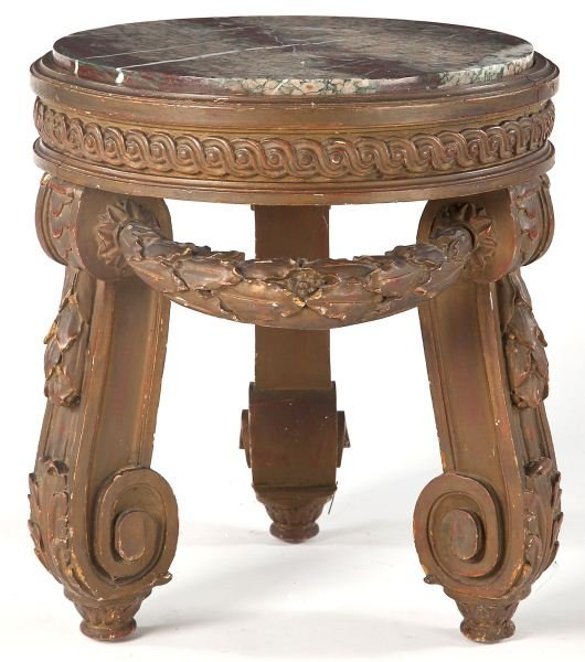 74: Italian Round Low Table with Marble Top