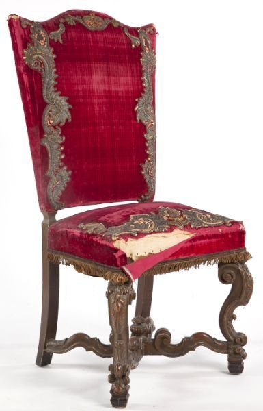 77: Italian Upholstered and Carved Side Chair