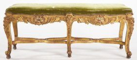 Louis XV Style Carved Gilt Wood Bench