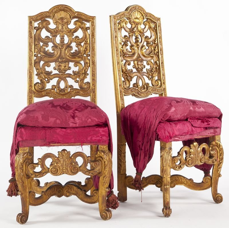 83: Pair of Florentine Carved Gilt Wood Side Chairs