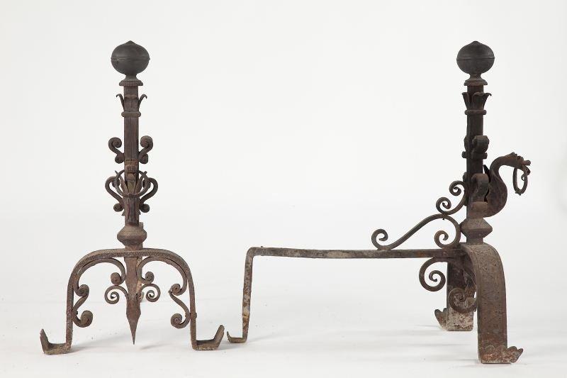 84: Pair of Italian Baroque Style Andirons